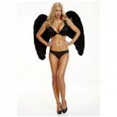 Большие Крылья из Натуральных Перьев Electric Lingerie Dark Delight черные
