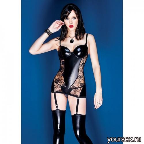 Черное Платье Coquette с Кружевом, S