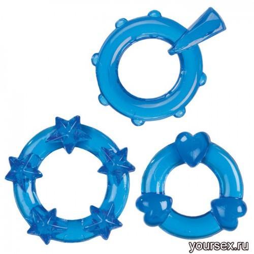 Эрекционные Колечки Magic C-Rings голубые