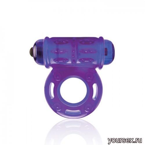 Мощное Вибро-Кольцо Lux Fetish со Стимулятором Клитора фиолетовое
