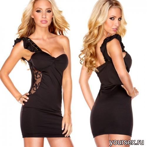 Клубное Платье Hustler с бретелью на одной плечо Lace Passion черное M