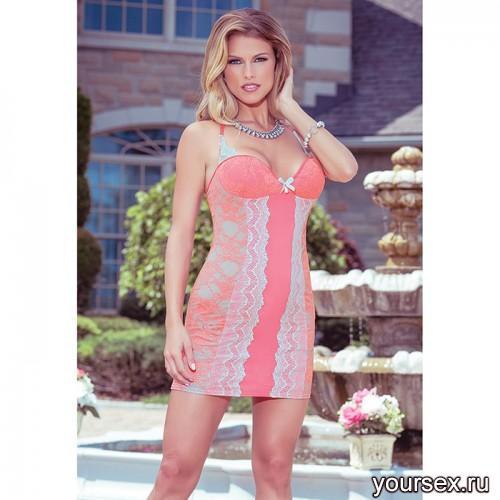 Коралловое Платье Coquette с Аквамариновым Кружевом, XL