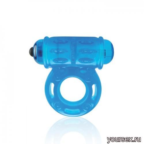 Мощное Вибро-Кольцо Lux Fetish со Стимулятором Клитора голубое