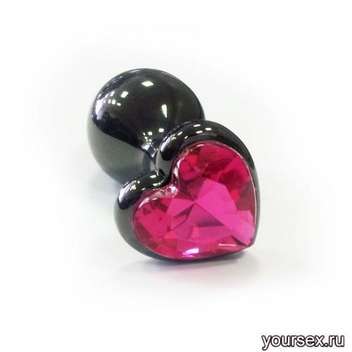 Анальная Пробка в виде сердца, стальная черная с малиновой вставкой S, в коробочке