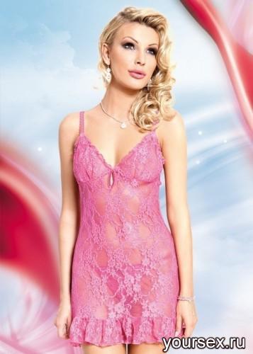 Ажурная Сорочка и Стринги Soft Line April, розовые S/M