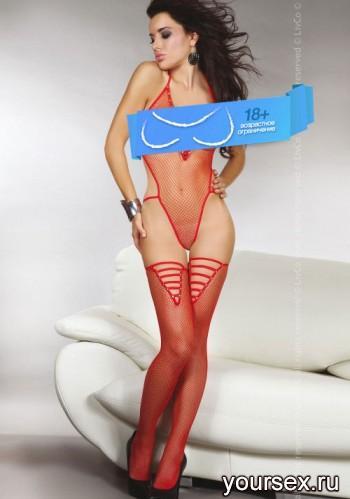 Боди с Чулками Livia Corsetti Hessa red, красное S/L