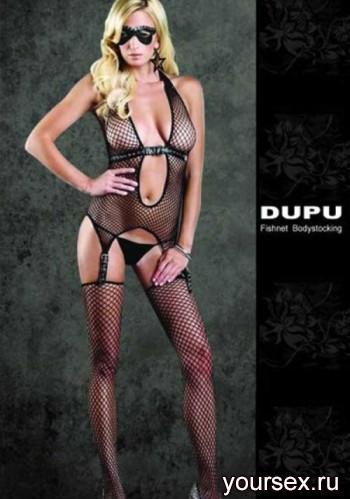 Комбинезон DUPU с чулками и кожаными ремнями, черный OS