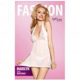 Прозрачная Сорочка с Кружевным верхом и Стринги Soft Line Marilyn, белые S/M