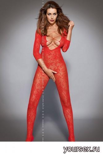 Чулок на тело Obsessive Вodystocking F200, размер S/M, цвет красный