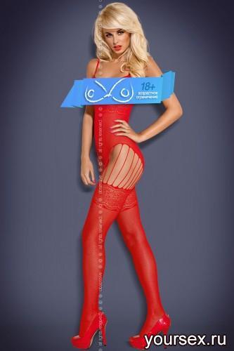 Чулок на тело Obsessive Вodystocking F207, размер S/M, цвет красный