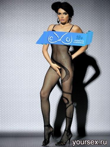 Чулок на Тело Obsessive Вodystocking N104, размер S/M, цвет черный