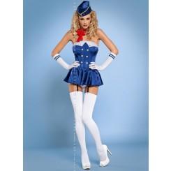 Корсет Obsessive Stewardess Kostium, размер L/XL, цвет синий