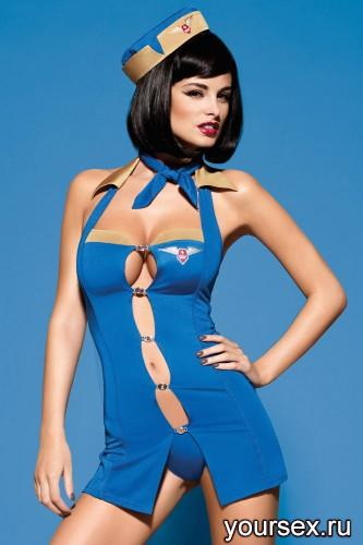 Костюм Стюардессы Obsessive Air Hostess, размер L/XL, цвет синий