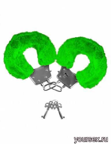 Наручники Неоновые Металлические с Мехом, зеленые
