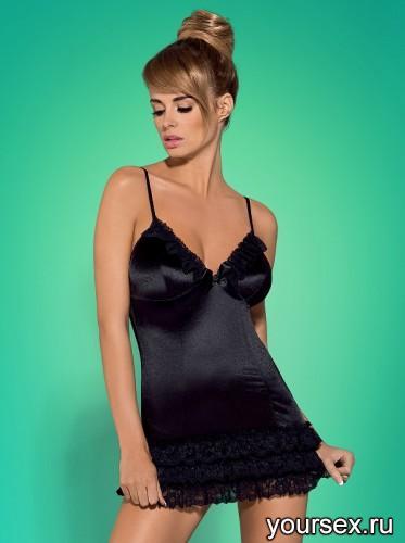 Сорочка и Стринги Obsessive Blackbella Chemise, размер L/XL, цвет черный