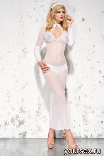 Белая сорочка и стринги Sarah L/XL