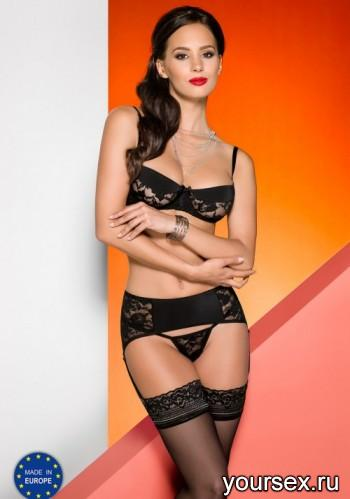 Комплект с поясом для чулок Avanua Rayen set black, черный S/M