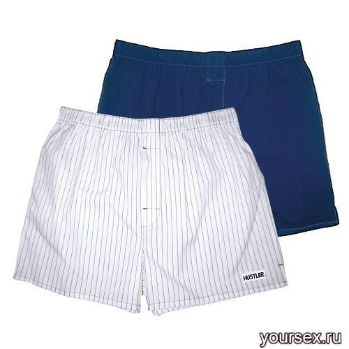 Мужские хлопковые трусы-шорты HUSTLER белые и темно-синие, размер S