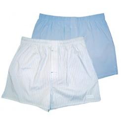 Мужские хлопковые трусы-шорты HUSTLER голубые и белые, размер L