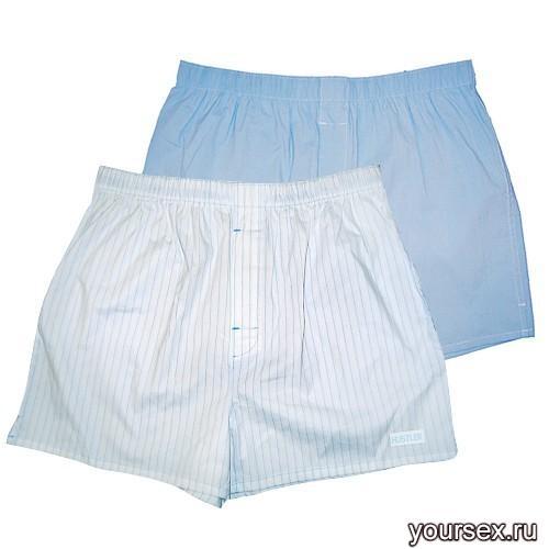 Мужские хлопковые трусы-шорты HUSTLER голубые и белые, размер S