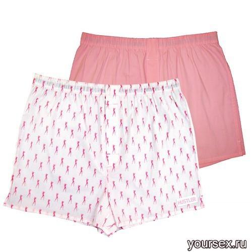 Мужские хлопковые трусы-шорты HUSTLER розовые и с танцовщицами, размер M