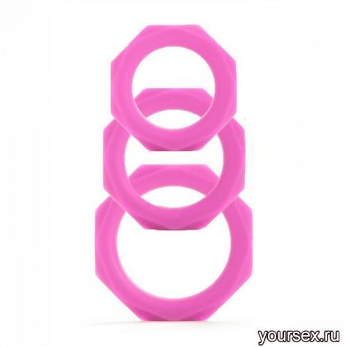 Набор эрекционных колец Octagon Rings 3 sizes, розовый