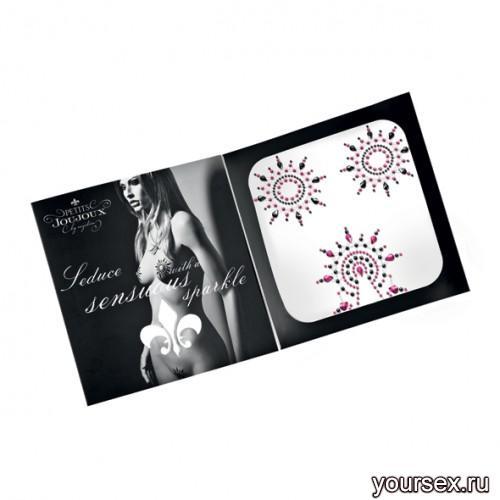 Набор украшений GLORIA SET на грудь и зону бикини, цвет черный/розовый