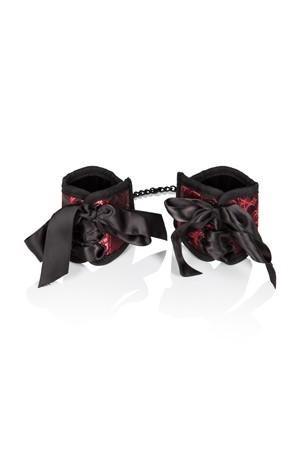 Наручники Scandal Corset Cuffs на завязках черный с красным
