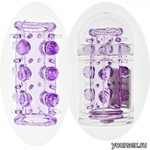 Насадка на фаллос с шипами и бусинами(фиолетовый)