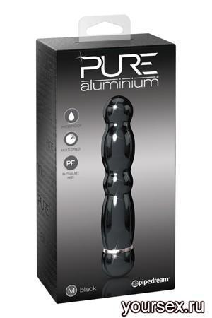 Вибромассажер PURE ALUMINIUM - BLACK MEDIUM рельефный черный