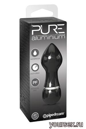 Вибромассажер PURE ALUMINIUM - BLACK SMALL рельефный черный