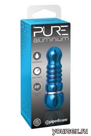 Вибромассажер PURE ALUMINIUM - BLUE SMALL рельефный голубой