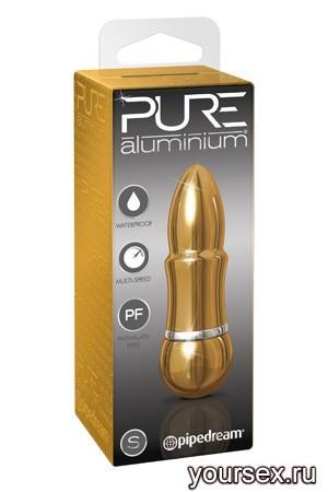 Вибромассажер PURE ALUMINIUM - GOLD SMALL рельефный золотистый