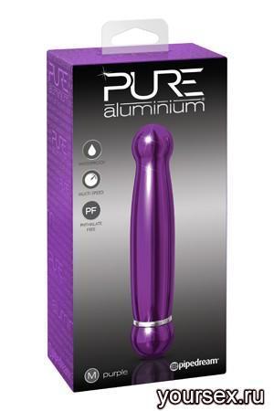 Вибромассажер PURE ALUMINIUM - PURPLE MEDIUM рельефный фиолетовый