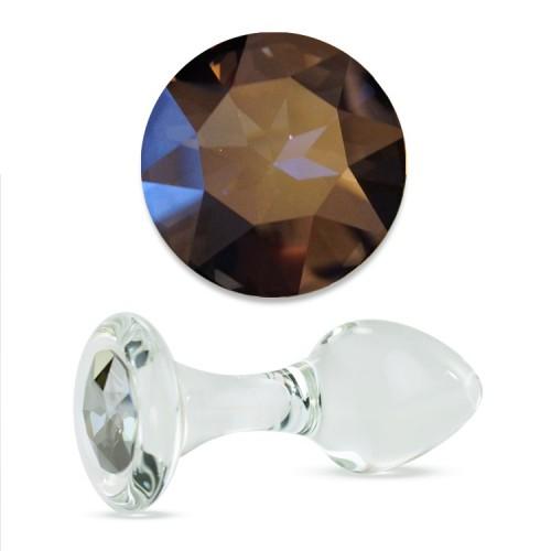 Анальная Пробка Стеклянная Crystal Delight Long Stem с кристаллом Swarovski - Stormy