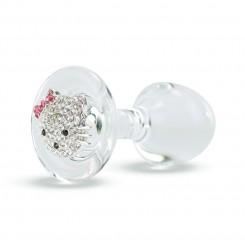 Анальная Пробка Стеклянная Crystal Delight Short Stem с кристаллами Swarovski Hello Kitty, Clear