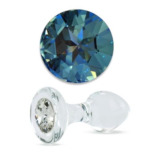 Анальная Пробка Стеклянная Crystal Delight Short Stem с кристаллом Swarovski - Blue