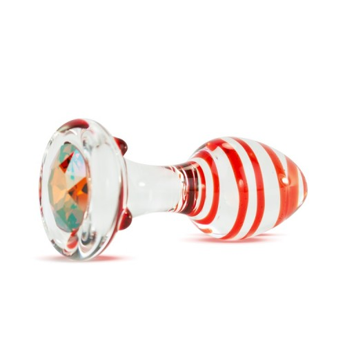 Анальная Пробка Стеклянная Crystal Delight Short Stem с кристаллом Swarovski - Kiss, Chili Pepper