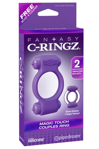 Эрекционное кольцо Magic Touch Couples Ring с 2-мя виброэлементами фиолетовое