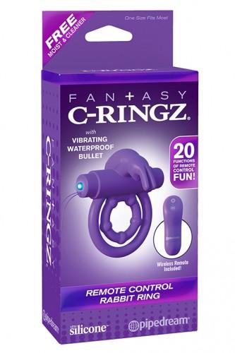 Эрекционное кольцо Remote Control Rabbit Ring на пенис и мошонку фиолетовое с вибрацией