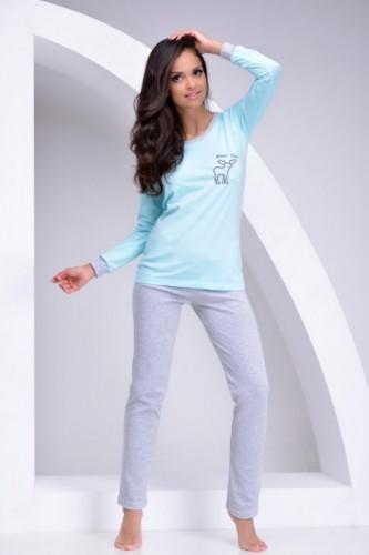 Голубая футболка с длинным рукавом и серые штаны Judita M