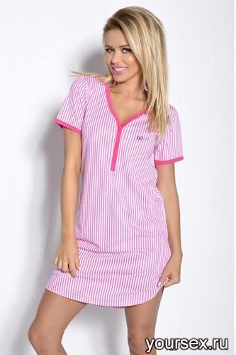 Розовая с белым сорочка Tamara XL