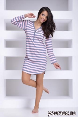 Розовая с серым сорочка Tamara S