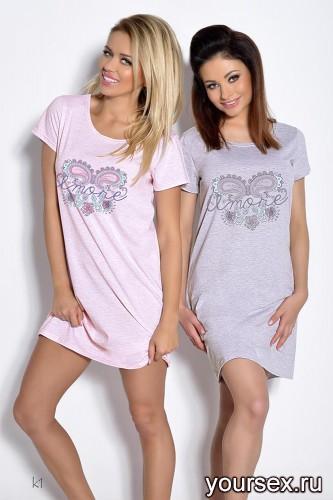 Розовая сорочка Agnieszka XL