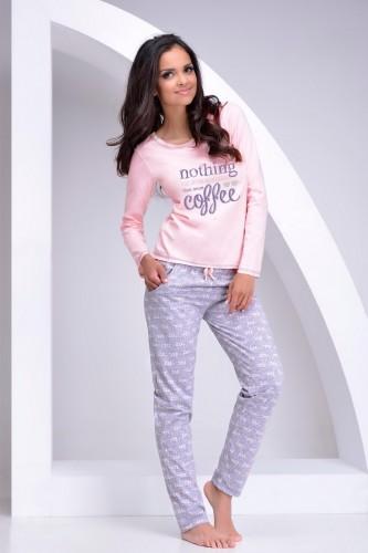Светло-розовая футболка с длинным рукавом и серые штаны Sara XL
