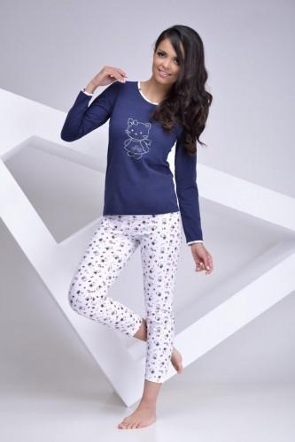 Темно-синяя футболка с длинным рукавом и белые штаны Gabi L