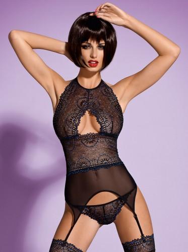 Корсет Obsessive Oriens Corset, размер L/XL, цвет черный