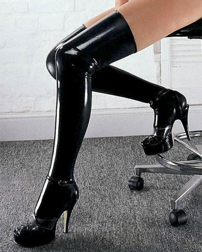Латексные Чулки Sharon Sloane - Latex Stockings Medium, черные
