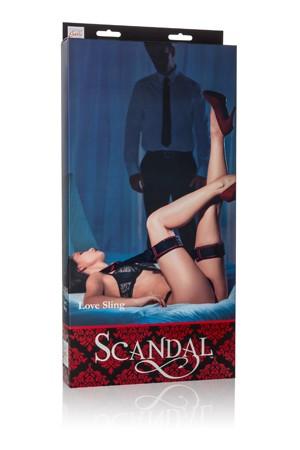 Наножники Scandal Love Sling с длинным ремешком черные с красным