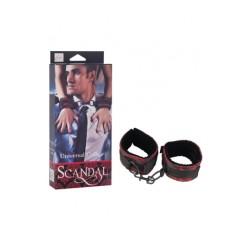 Наручники Scandal Universal Cuffs атласные с цепью черно-красные